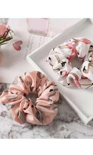 Pale Pink Pastel Flamingo Pattern Hair Scrunchie
