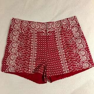 H&M holiday style delicate embroidered red short