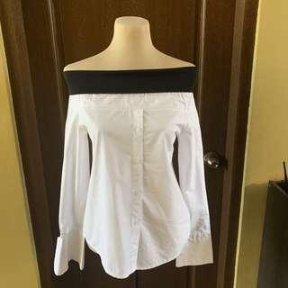 Off shoulder polo blouse, free size