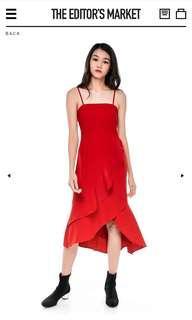 BN The Editor's Market Leonie Ruffle Square Neck Midi Dress in Scarlet