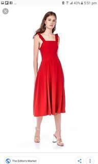BN The Editor's Market Rozelle Ruffle Square Neck Midi Dress in Scarlet