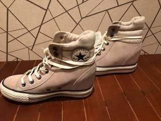 全新CONVERSE 女生內增高麂皮高統鞋