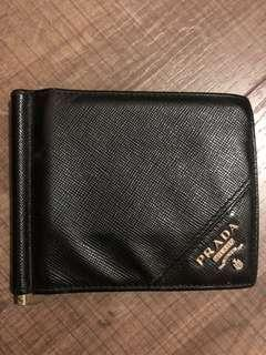 Prada Saffiano Metal Bifold Wallet With Money Clip