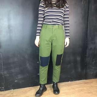 🚚 新品色塊補丁軍綠長褲