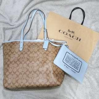 👜Coach Reversible City Tote In Signature C 經典C紋雙面皮革托特包
