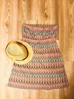 🚚 Accessorize beach tube dress (UK8/10) + Hat