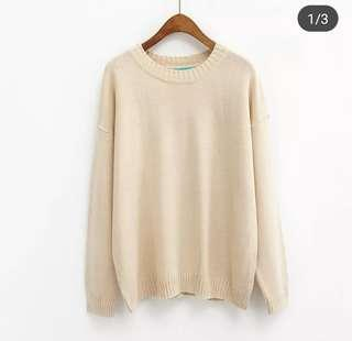 Free Post Knitted Sweater in Beige