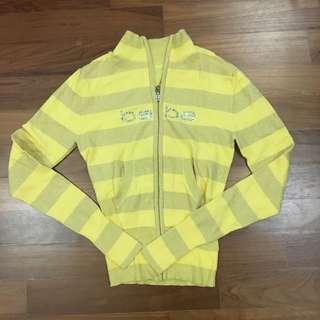 Bebe yellow striped zip down jacket