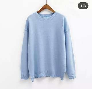 Free post knitted sweater in light blue
