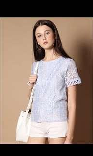 BN The Stage Walk Nat Lace Sleeve Top in Powder Blue