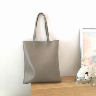 Chic Taupe Faux Leather Shoulder Tote Bag