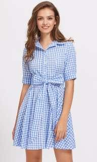 Brand new blue checked dress XS S