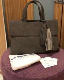 Kwani Bag Suede Twin Tassel (Stone Grey)