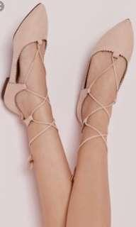 Missguided Nude Lace Up flats