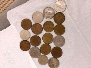 韓國硬币共18個
