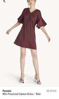 🚚 Brand New Pomelo Mini Flounced Sleeve Dress in Red