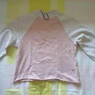 🚚 h&m pink plain cropped long sleeve