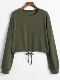 REPRICED!!! Drawstring Waist Cropped Sweater