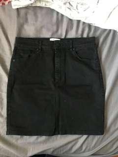 A Brand black denim skirt