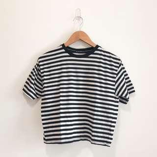 bnwpt black striped aleena basic tee