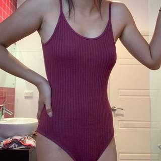 MAROON RIBBED BODYSUIT