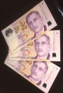 💥600600➕Runs💥3 Runs Portrait Polymer $2 Notes with Serial Numbers 3GS 600599 to 3GS 600601 in UNC Mint Condition