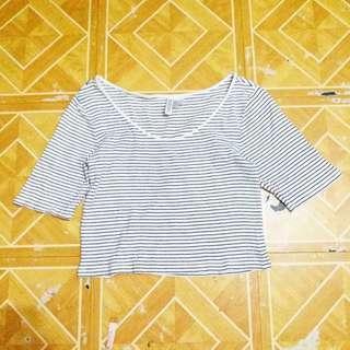 🎈SALE🎈H&M White Stripes Crop Top