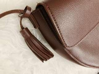 Brown Faux Leather Sling/ Crossbody