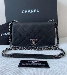 100% Authentic CHANEL Black Calfskin Small Flap / Mini Cross-body Chain Shoulder bag