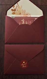 婚後物資 有50套 酒紅帖封連內頁+貼紙