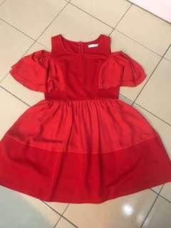 Red Dress with two type materials.