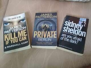 Books by Dan Brown, James Patterson...