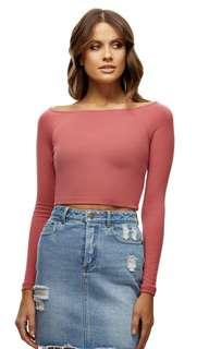 Kookai Long Sleeve Dusty Pink Crop Top in Size 1