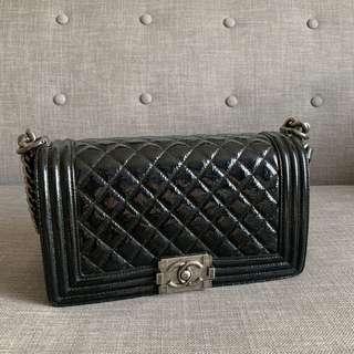 Chanel Boy - Black Patent Old Medium