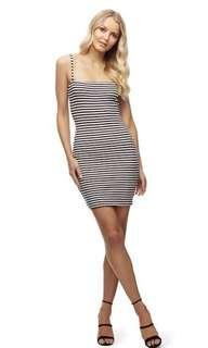 Kookai Stripe Tie Strap Dress in Size 1 Black and White