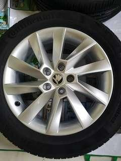 Skoda, Seat, VW, Audi Ronal Wheels 5x112 17x7J, 215/55 R17 ContiPC5. For use or for car trade in