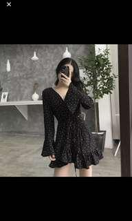 Polka Dot Long Sleeve Dress (Black)