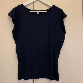 🚚 🛍二手衣大拍賣🛍 #ESPRIT #深藍/靛色 #蝴蝶袖上衣