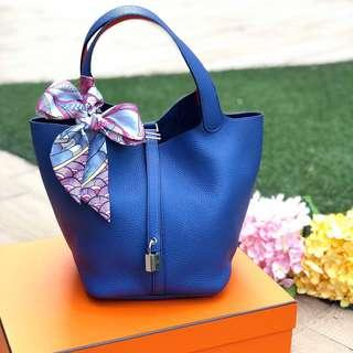 💙Super Gorgeous!💙 Hermes Picotin 22 in Bleu Brighton Clemence Leather PHW