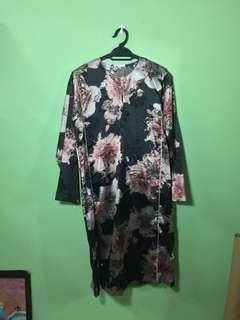 Flowery Floral Black Baju Kurung