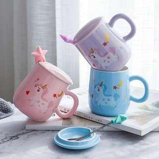 Unicorn Mug with Lid and 3D Star Spoon 400ml
