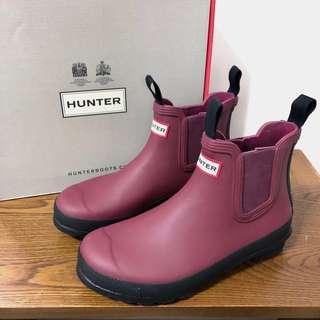 Hunter 紅酒色 紫紅色 短靴 水鞋 EU39 UK6 US8