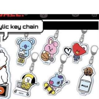 japan exclusive bt21 acrylic keychain