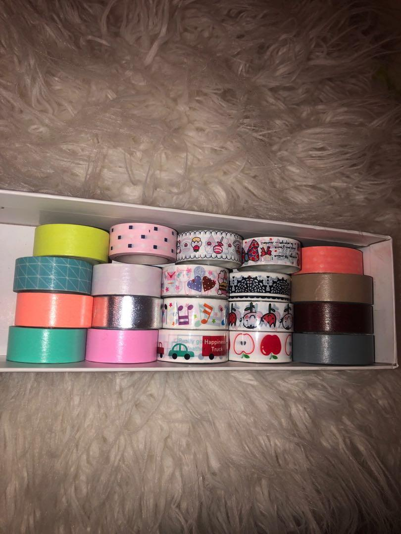 20 assorted washi tapes including Muji tape dispenser