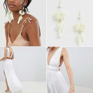 FREE POS Asos Design Grecian Plunge Open Back White Maxi Beach Wedding Dress + Statement Wedding Floral Drop Earrings in Off White Resin
