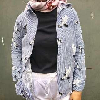 Zara look a like Blue Stripes Bird Shirt