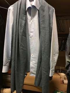 🚚 全新未使用過!Net超柔順高質感煙藍色針織棉圍巾披肩(男女皆適用百搭)