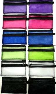 🚚 Double Zip Case Bag, Mesh ↪ Transparent 💱 $3.50 Each Piece/ $9.00 for 3 Pieces