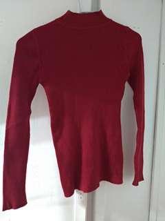 紅色小高領緊身衣