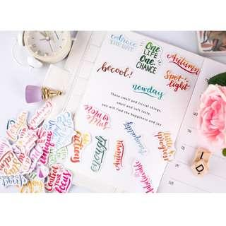 🚚 Calligraphy Words Sticker Flakes